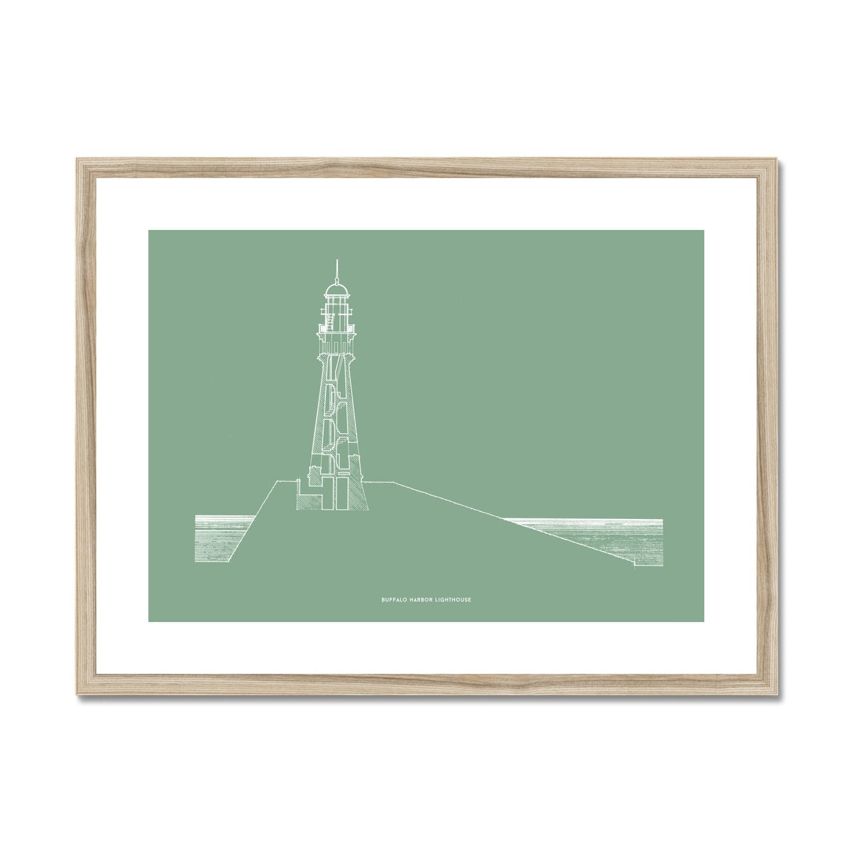 Buffalo Harbor Lighthouse - Cross Section - Green -  Framed & Mounted Print