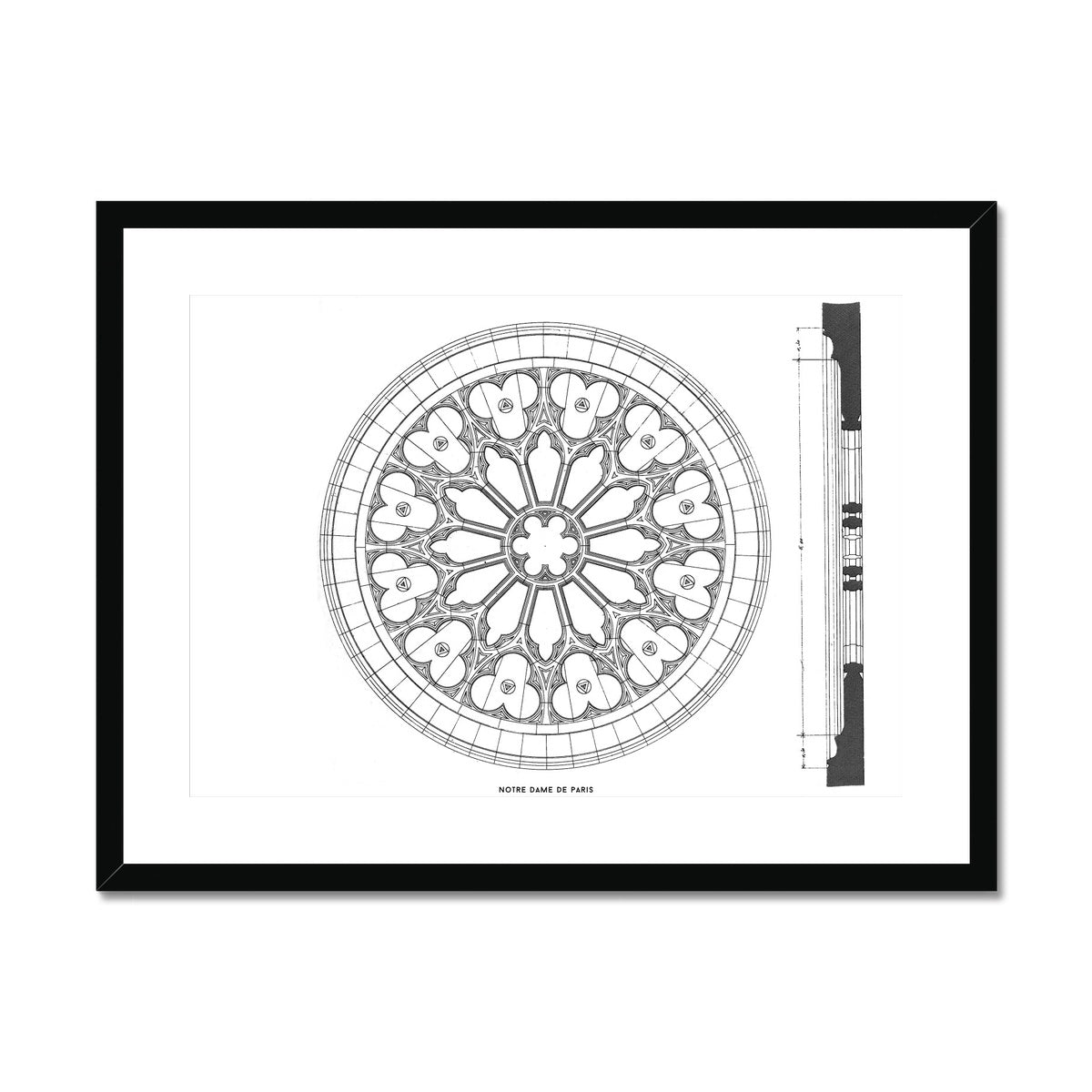 Notre Dame de Paris - Window Detail - White -  Framed & Mounted Print