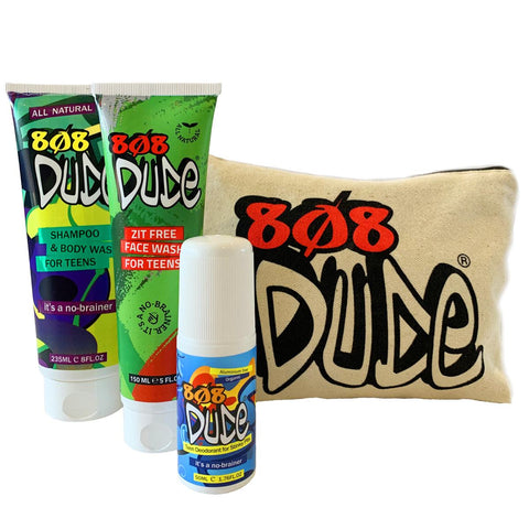 808 Dude Combo Pack containing natural deodarant, shampoo and body wash and zit free face wash in a cool canvas bag,