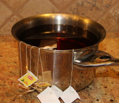 Home Brewed Allergy-Free Kombucha in a pot with tea bags
