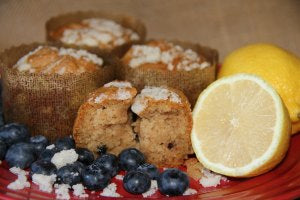 Gluten Free Blueberry Lemon Muffins Cut Open Fresh