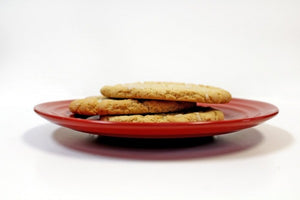 Gluten Free Lemon Sugar Cookies on a Red Plate