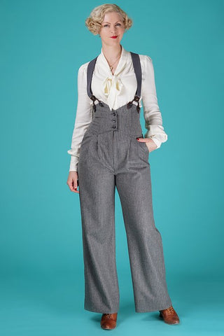 the miss fancy pants slacks - gray stripe