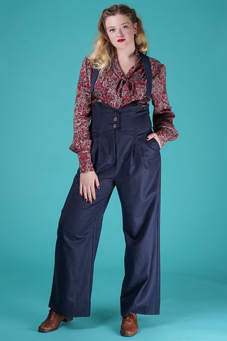 the miss fancy pants slacks - navy stripe tweed