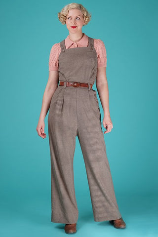 the dressy dungarees - taupe stripe