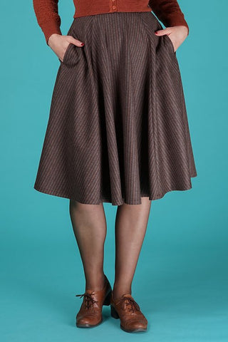The sweetest swing skirt - brown stripe