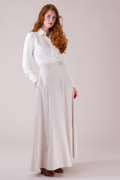 The immortal maxi skirt - cream herringbone linen