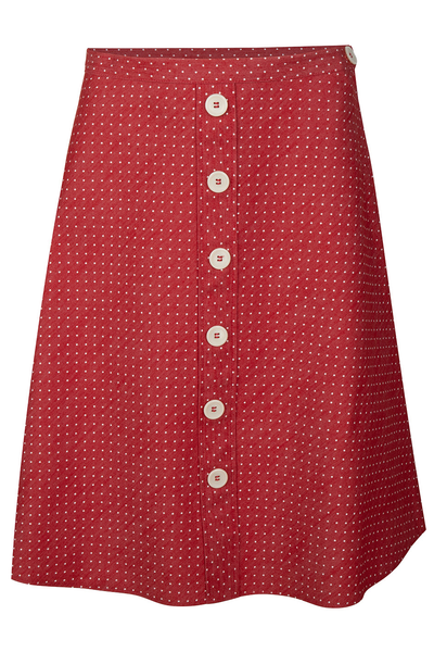 Button A-line Skirt - dots red/denim