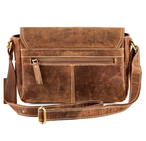 Distressed Leather Saddle Bag