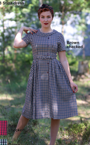 Stina Dress - green check