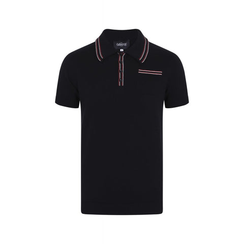 Pablo Plain Knitted Polo Shirt - black