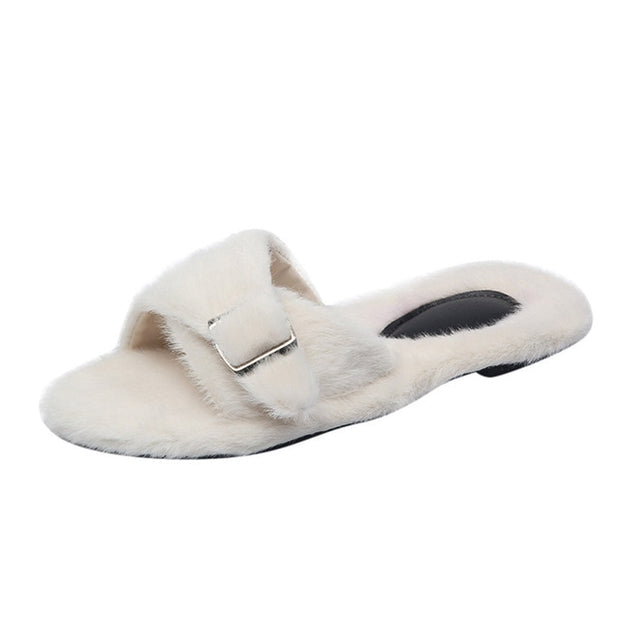 Soft Plush Buckle Strap Slippers