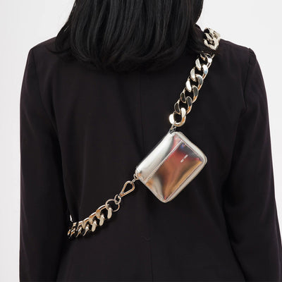Thick metal chain strap bag