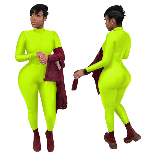 Zip Up Sexy Long Sleeve Jumpsuit