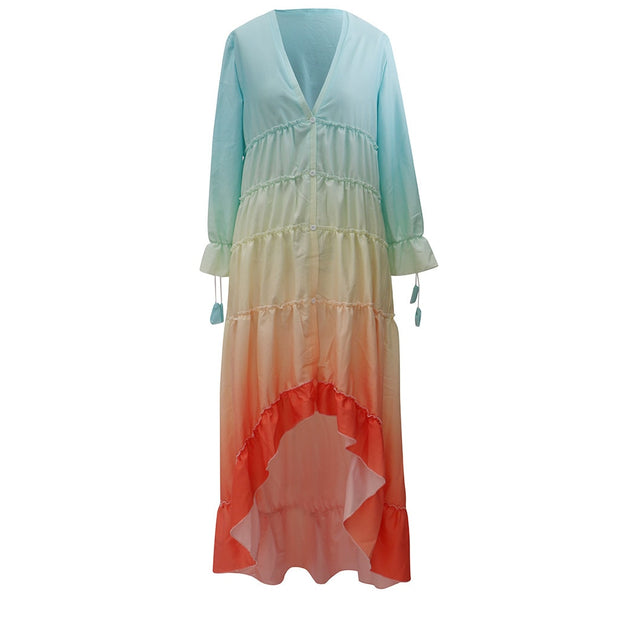 Women Summer Rainbow Color Long Sleeve Dress