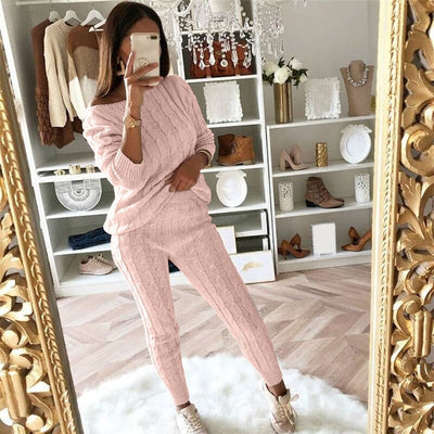 Off Shoulder Cable Knitted Suit