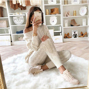 Warm Knitted Solid Sweater and Long Pants