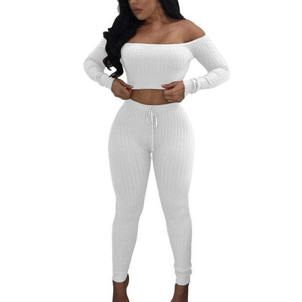Drawstring Off Shoulder Tracksuit