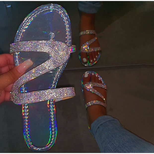 New Summer Women Crystal Slippers