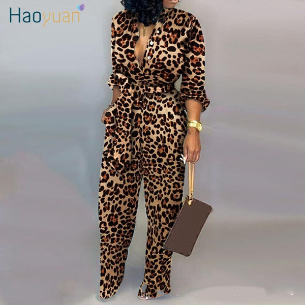 Sexy Leopard Long Sleeve Jumpsuit