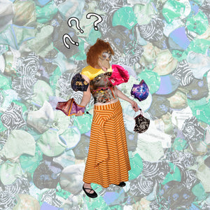 Gorilla girl holding an array of masks as though she is juggling them. There are question marks above her head. The background is a pile of masks