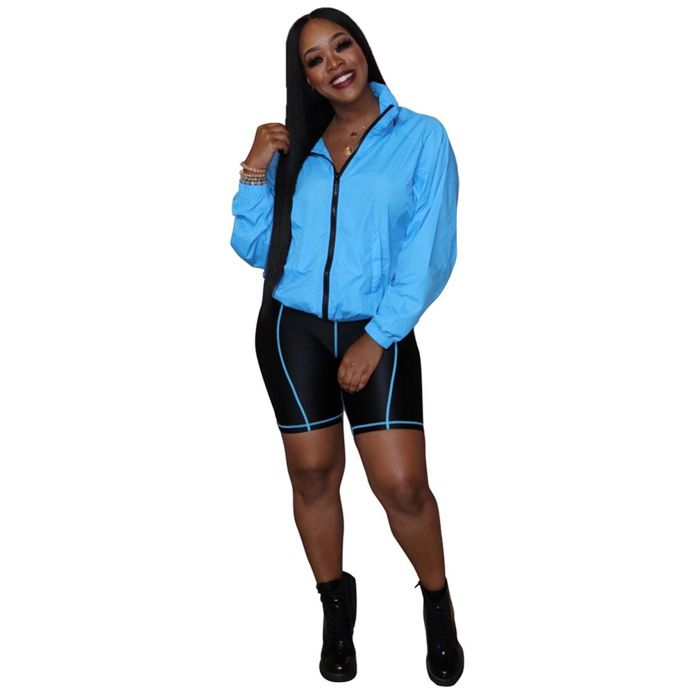 Neon Color Women 2 Piece Set Outfit Long Sleeve Sportswear Biker Shorts Two Piece Set Clothing