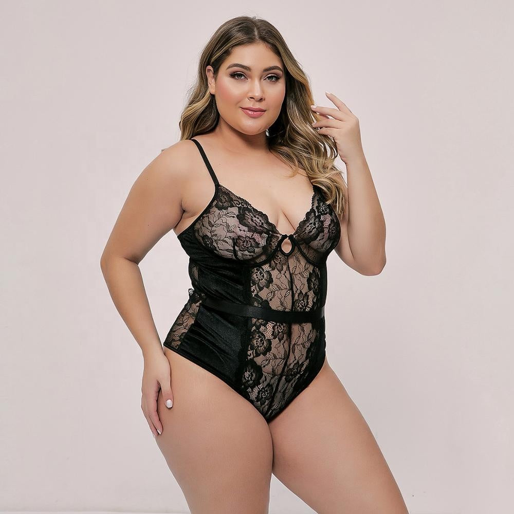 Embroidered lace large size transparent back cross strappy sexy lingerie plus size women 2020