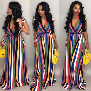 Multi-Color Stripes Wrapped Maxi Dress Plus Size Evening Dresses