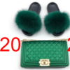 Rainbow color hand bags shoulder crossbody designer matching purse handbags raccoon real fox fur slides and handbag for women