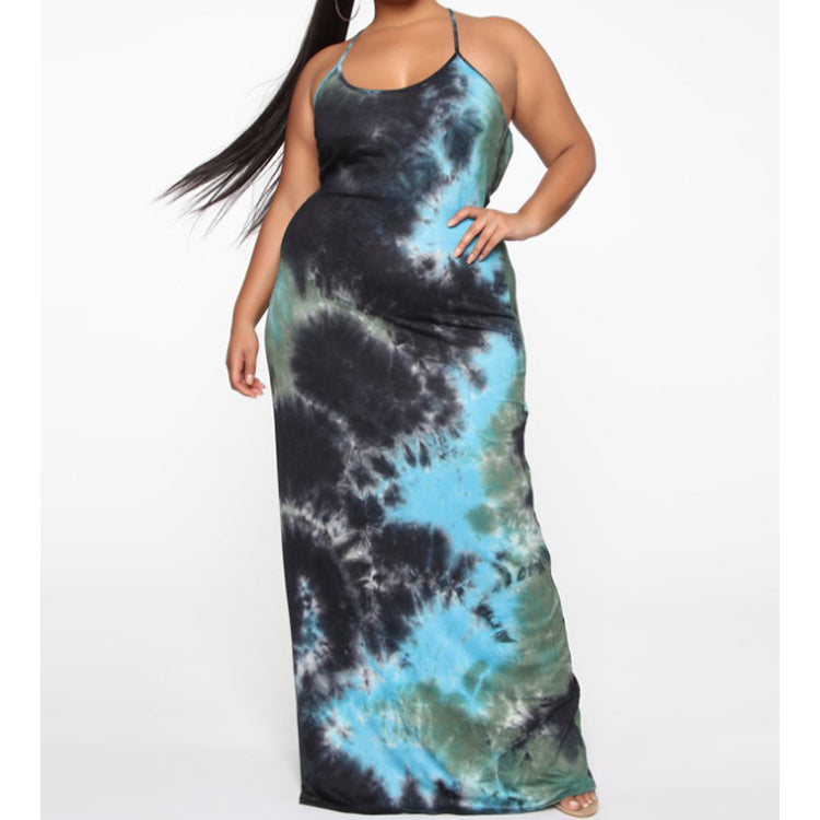 tie-dye sexy spaghetti strap backless bodycon beach casual plus size big size women dress