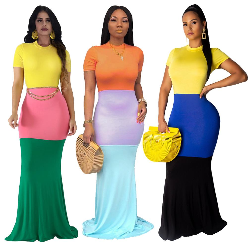 Short sleeve patchwork Long Maxi Dress women's New Fashion Party Dress Factory Stock wholesale