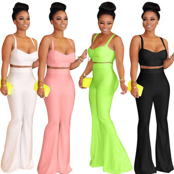 solid vest tank top with wide leg pants two piece set women