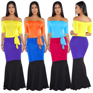 Off Shoulder Maxi Dress Sexy Ladies Fit Flare Dress Patchwork Bodycon Dress
