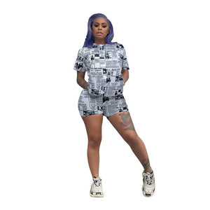 News Print 2 Piece Biker Shorts Set Women Short Sleeve Round Neck T-Shirt + Bodycon Shorts Plus Size Summer Causal Two Piece Set