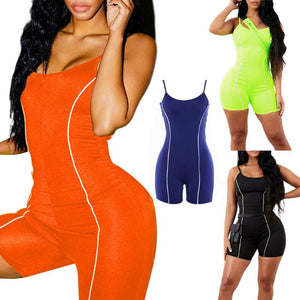Biker Playsuit Sexy Backless Neon Color Skinny Rompers