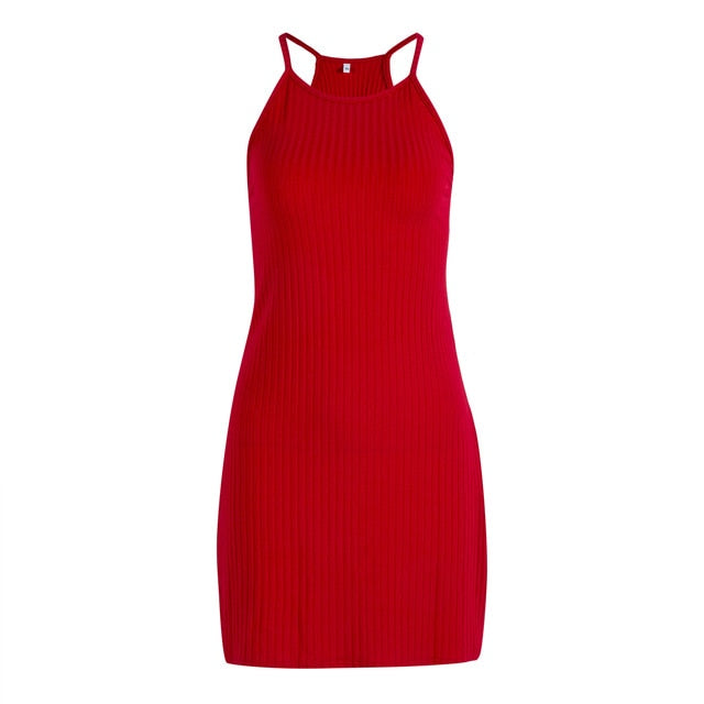 Fashion 2019 Women Sexy Backless Basic Dresses Bodycon Dress Strap Solid Dress Sling Sleeveless Holiday Party Mini Dress