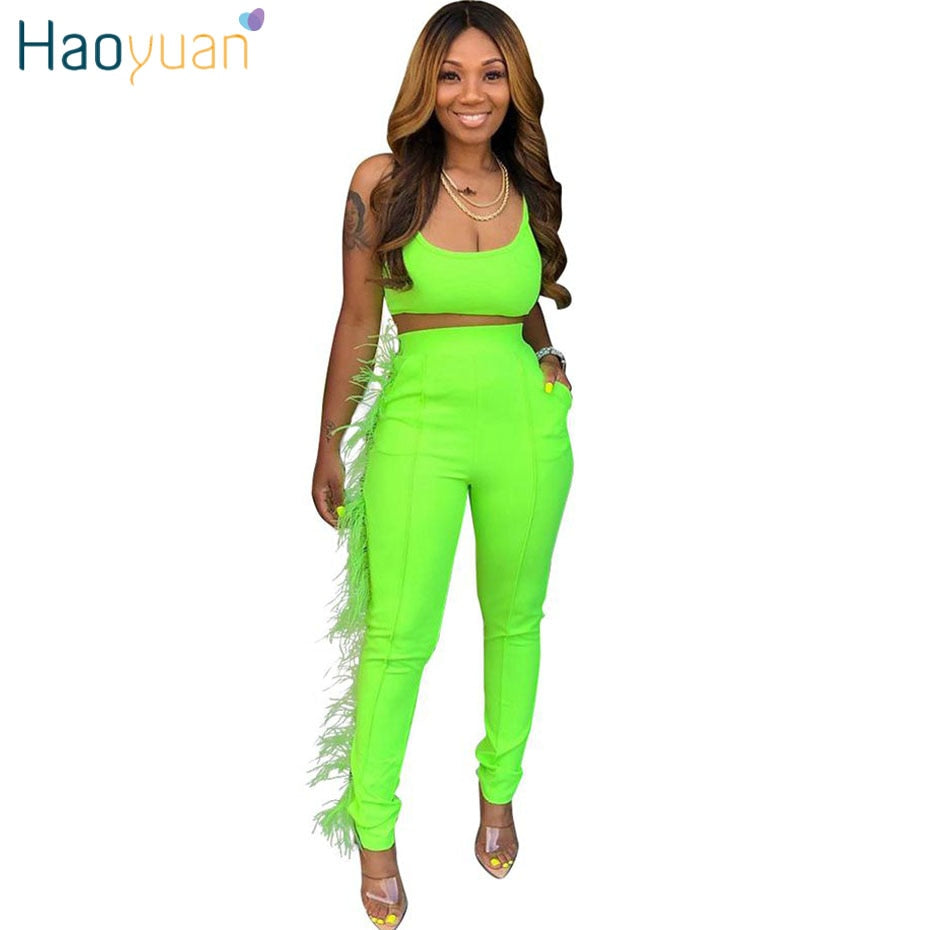 HAOYUAN Two Piece Set Women Neon Green Sexy Crop Top and Bodycon Pant 2 Piece Suit Club Outfits Festival Clothes Matching Sets