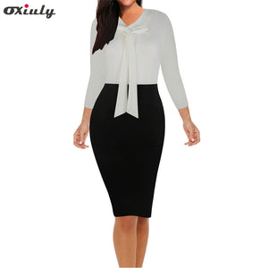 Women Bow V Neck Patchwork Casual Printed Office Midi Formal Stretch Pencil Office Work 3/4 Sleeve Body-con Sheath Party Dress