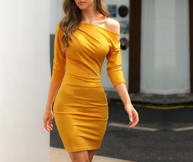 Women sexy one shoulder oblique collar ruched dress Casual 3/4 sleeve slim body con dress mustard black fall 2019 women dress