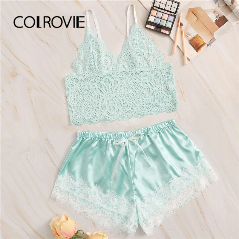 COLROVIE Green Floral Lace Bralette With Satin Shorts 2019 Sheer Bralettes Sexy Sets Women 2019 Stretchy Ladies Lingerie Sets