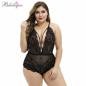 Bikitique Women Plus Size Deep V Sheer Eyelashes Lace One Piece Sexy Lingerie Underwear Onesies Pajamas Red Black Bodysuit