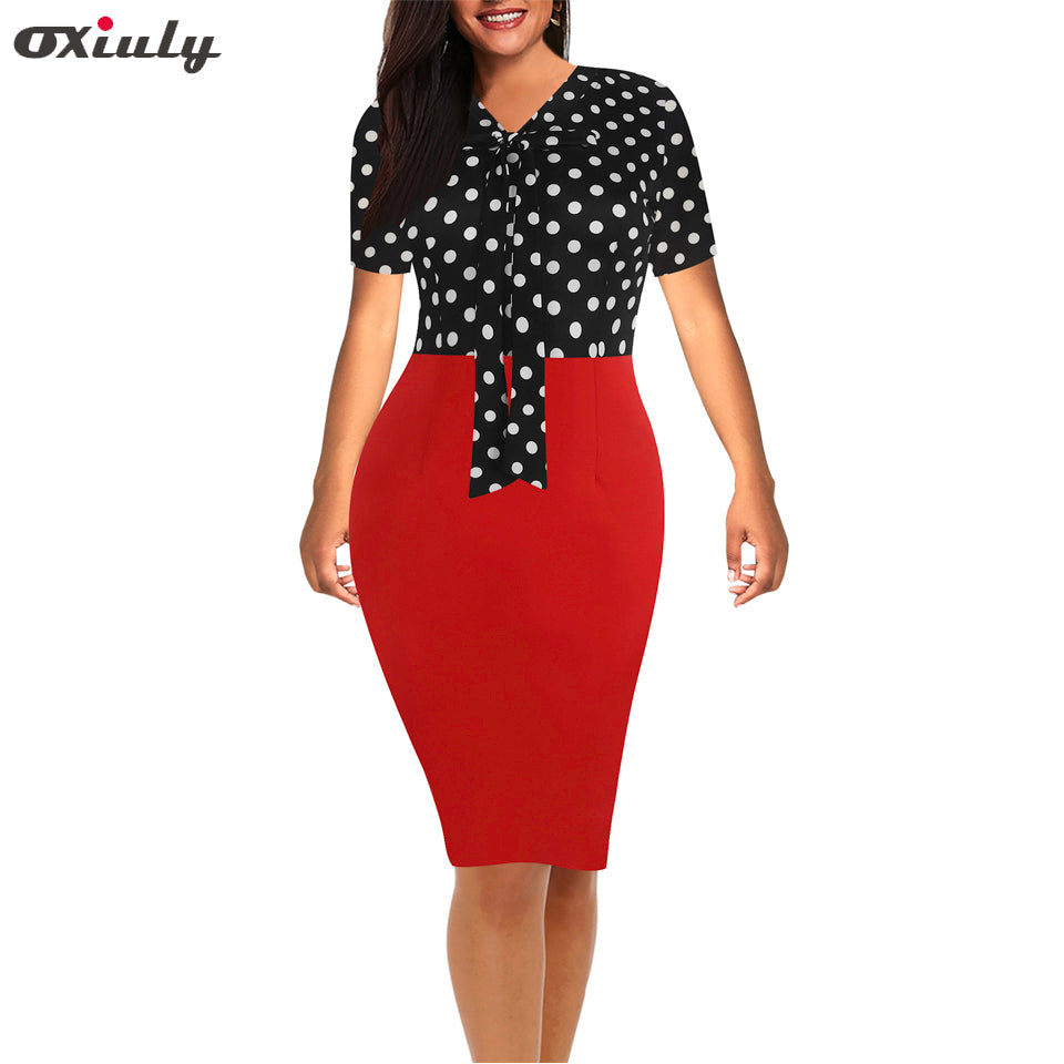 Women Bow V Neck Vintage Polka Dot Floral Office Midi Formal Stretch Pencil Office Work Short Sleeve Body-con Sheath Party Dress