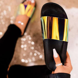 Summer Women PU Transparent Slippers Bling Woman Beach Sandals Clear Slides Flats Home Slippers Ladies Jelly Shoes Dropshiping