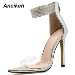 Aneikeh New Bling high heels Shoes Woman Sandals PVC Jelly Thin Heels Sexy Clear High Heels Summer Sandals Pumps Shoes Size 42
