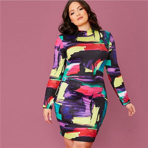 SHEIN Plus Size Multicolor Mock Neck Colorblock Bodycon Dress Women 2020 Spring Elegant Long Sleeve Plus Slim Fit Mini Dresses
