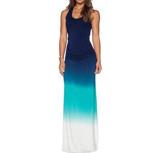 Plus Size Fashion Gradient Sleeveless Round Neck Summer Women Maxi Long Dress 2020 New Womens wear