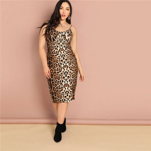SHEIN Plus Size Leopard Print Sleeveless Bodycon Slip Dress Summer Spaghetti Strap Women Sexy Going Out Pencil Party Dresses