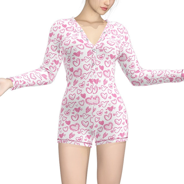 Funny Patterns Deep V Bodycon Sleepwear Jumpsuit Button Bodysuit Shorts Romper Plus Size Sexy Onesie Pajamas For Adults Women