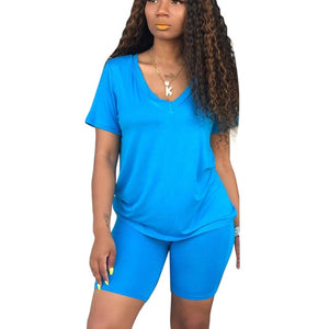 Solid High Elastic 2 Piece Set Outfit Women V-Neck Short Sleeve Basic Tshirt and Bodycon Shorts Suit Summer Causal Tracksuits