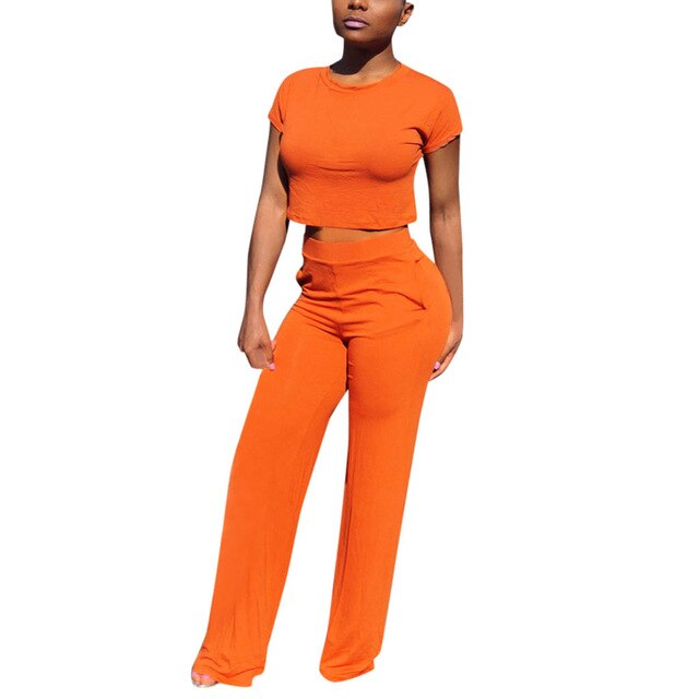 Summer 2019 sexy crop top and Solid Wide Leg Pants women two piece set Round Neck Short Sleeve 2 piece sets womens outfits hot